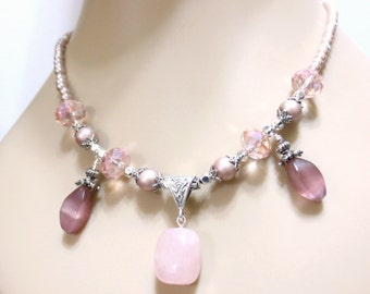 Pink Quartz Necklace, Pink Quartz Pendant, Pale Pink Crystals, Dusty Pink Pearls, Ornate Silver, Special Gift for Her, Pink Bib Necklace