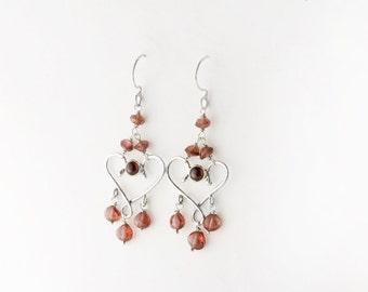 Valentine Sweetheart Chandelier Sterling Silver Earrings