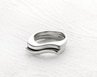 Minimalist Waves Sterling Silver Stack Rings