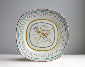 Vintage Prairie Chicken Dinner Plate by Walter Dorwin Teague for Taylor Smith Taylor, 1950s - Vintage Ceramic