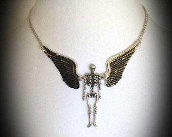 Gothic Angel - winged skeleton choker necklace