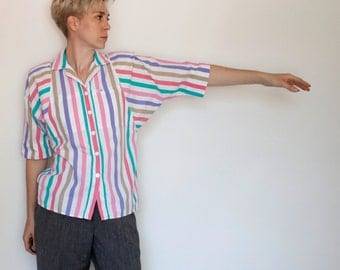 Vintage 80's button down shirt, 1/2 length dolman tapered sleeves, striped, shoulder pads, front pockets, teal, tan, pink, purple - Medium