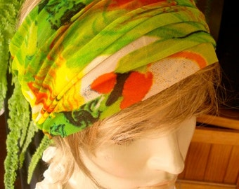 womens Headband extra Wide Headband with optional flower lime green Comfortable Yoga turband Alopecia fine soft mesh