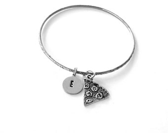 custom pizza bangle bracelet personalized with your initial . silver bangle bracelet . stacking bracelet