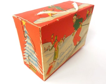 Vintage Gift Box - Vintage Ski - Vintage Graphics - Vintage Art - Ornament - Ski - Ski Memorabilia - Ski Paper Ephemera