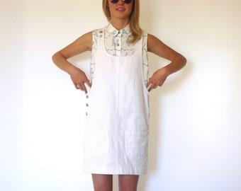 80s Bleached White Denim Overall Mini Dress xs s