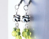 Rabbit Earrings - Lime Green Glass Beads, Silver Plated Pewter Bunny Beads, Antique Silver Earwires