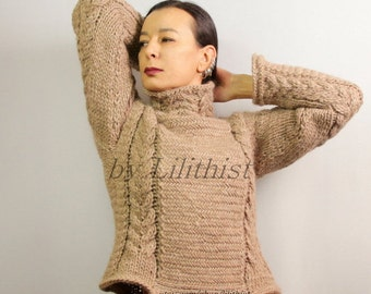 Knit Chunky Sweater, Camel Cable Knit Sweater, Thick Turtleneck Sweater, Warm, Winter Sweater, Merino Wool Pullover, Unique Cowl Sweater