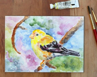 Bird Painting, Original Art, Watercolor Painting, GIft for Mom, Yellow Finch, Bird Art, Christmas Gift, Colorful