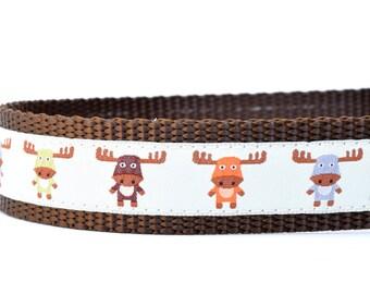 "Woodland Moose Dog Collar - Woodland Collar - Moose Collar - Buckle Collar - Martingale Collar - 1"" or 3/4"" wide"