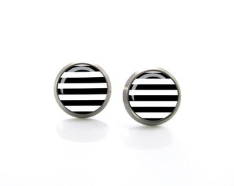 Modern Black and White Stripes Titanium Post Earrings | Hypoallergenic Earring Stud | Titanium Earring Stud |