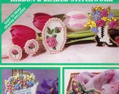 Ribbon & Beaded Stitchwork Cross Stitch Book by Simplicity, Ornaments, Pins, Earrings, Magnet, Butterfly and More