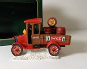 Coca-Cola Town Square Collection Item #64311 Model T Truck with Red Barrels 1992 Collectible Christmas Village Coke Decoration