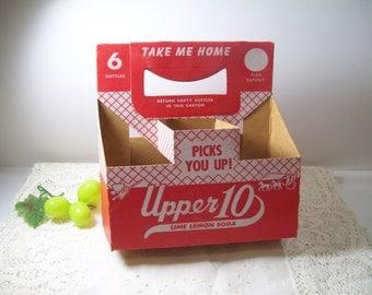 Vintage 1950s Upper 10 LIME LEMON Soda 6 Bottle Carton Carrier Take Me Home Carriage