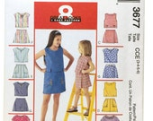 McCall's 3677, Girls Top Pattern, Girls Skort Pattern, Sewing Pattern Girls size 3, Girls size 4, Girls size 5, Girls size 6, Uncut Pattern