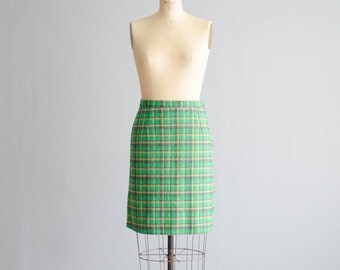 Vintage 1960s Mini Skirt - 60s Plaid Skirt - Lady Luck Skirt
