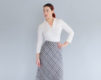 70s Maxi Skirt - Vintage 1970s Plaid Skirt - Upperclassman Skirt