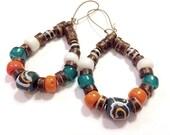 "Handmade Hoops,Ethnic Krobo Bead Earrings for Women, Etsy, Drop: 3 5/8"", Unique Gift for Her, Christmas, Kwanzaa, Boho Chic, Tribal Chic"