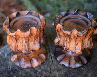 Vintage hand carved wood candle holders - perfect for your altar or dining table.
