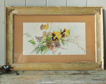 Sweet Vintage Pansy Botanical Print in Gilt Wood Frame