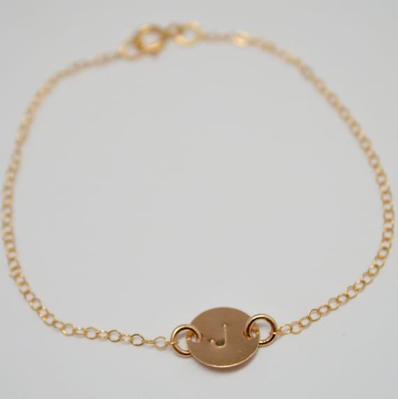 Gold Monogram Initial Bracelet, Personalized Bracelet, Initial Bracelet, Hand Stamped Bracelet, Gold Disc Bracelet, Clementine