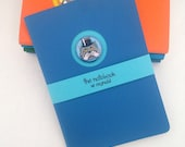 Handmade cat notebook - A6 handstitched journal, unlined, blue & turquoise, unique design with cat badge, cat lover gift