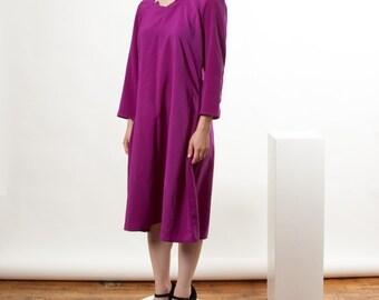 ON SALE Long Sleeve Fuschia Dress / Retro Flowing Dress / Pleated Elegant Vintage Dress