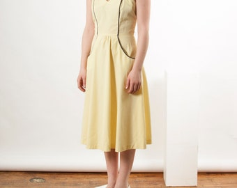 Summer Yellow Dress / Sleeveless Midi Dress / Pastel Retro Dress