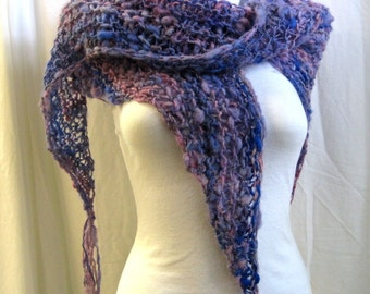 Lilac & Wisteria Hand Knit Scarf / Triangle Wool Scarf / Loose Knit / Handspun Yarn / Handknit Shawl wit