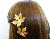 Wedding Hair Accessories Gold Leaf Hair Clips Bridal Barrettes Bride Bridesmaid Maple Leaves Autumn Fall Rustic Woodland Womens Gift For Her