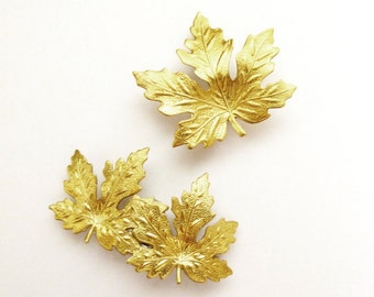 Maple Leaf Barrettes Gold Bridal Hair Clips Bride Bridesmaid Nature Inspired Botanical Autumn Fall Rustic Woodland Wedding Accessories Gift