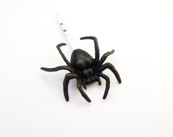 Halloween Hair Pin Black Spider Bobby Pin Goth Hair Clip Girls Costume Accessories Creepy Crawlie Crawler Arachnid Spooky Gothic Womens Gift
