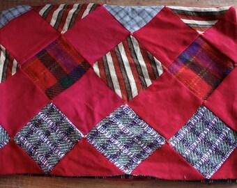 Vintage 1960s Handmade Patchwork Plaid Quilt // 70s 60s Large Vintage Bedspread // Cozy Blanket