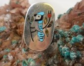 Turquoise Blue Jay Sandford Edaakie Sterling Ring