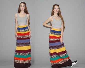 Vintage 1960s Tribal Hippie Rainbow Festival Maxi Skirt  - Vintage Maxi Skirts - Vintage Long Skirt  - WB0368