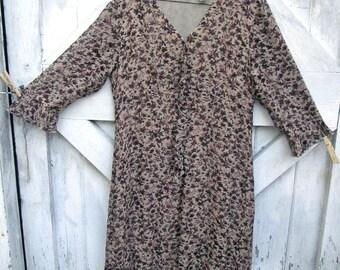 Vintage Dress Floral Print Rayon