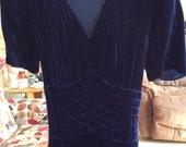Vintage 1930s Dress Helena Modes Label BLUE Velvet Fancy Smocking On Front Art Deco At Its Finest