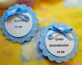 Baby Shower Corsage...Baby Shower Pin...Mom to Be Corsage...Baby Shower Favor Pins..Celebrating Family..Free Personalizing :)