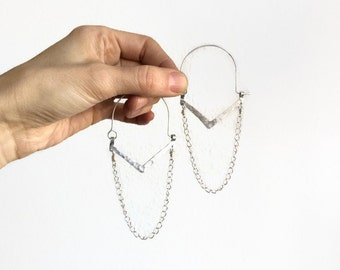 Chain hoop earrings, chain earrings