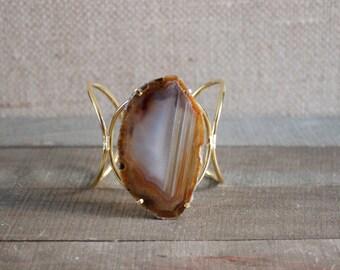 Brown Agate Slice Statement Cuff Bracelet/ Brown Natural Stone/ Large Agate Slice/ Gemstone Natural Stone Jewelry Gold Cuff Bracelet (BLD11)