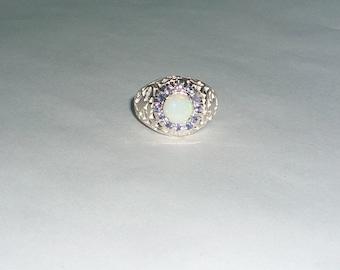 Tanzanite & Australian Opal Ring Sterling Silver .925