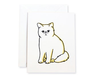 Exotic Shorthair Smoosh Cat Letterpress Card