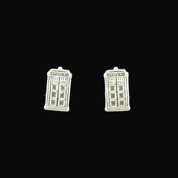 Sterling Silver Tardis Earrings