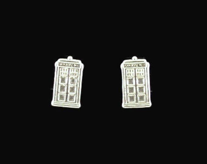 Sterling Silver Tardis Earrings