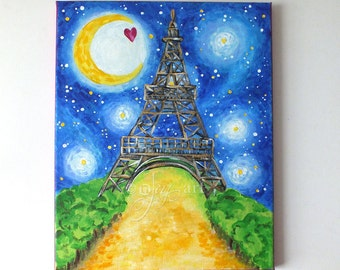 Eiffel Tower at Night, Contemporary Art for Home or Office, 11x14 Acrylic Canvas Art