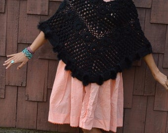 Vintage 60s CROCHET PONCHO Shawl Knit with Black Rabbit Fur Gypsy Boho Chic