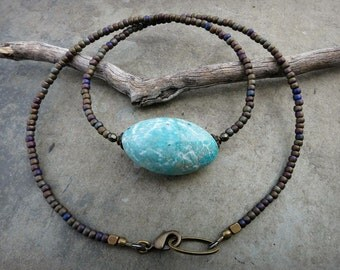 Turquoise Amazonite Nugget Necklace, rustic Bohemian tribal jewelry with robin's egg sky blue stone pebble & seed beads