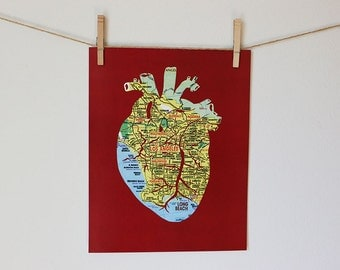 Los Angeles Map Artwork // Anatomical Heart Map Art Print // 11x14 Poster