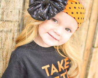 Halloween Town Sparkle Messy Bow Head Wrap - Pool Safe 3-6 months