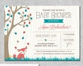 Fox Woodland Baby Shower Invitation - Bird Tree Fall Leaves Personalized Printable File or Print Package Available - Fox Shower #00111-PIA7